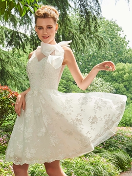 Knee Length Lace A Line Wedding Dress