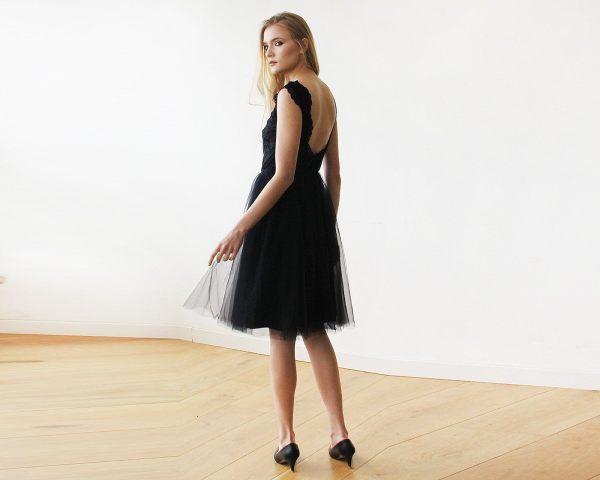 Lace And Tulle Black Sleeveless Midi Dress 1159