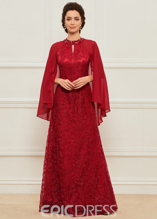 Lace Jewel Long Mother of the Bride Dress
