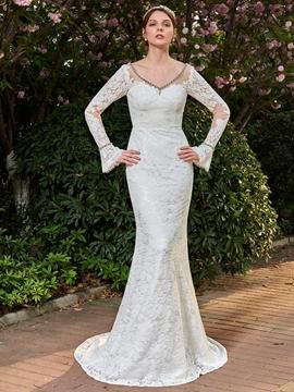 Lace Mermaid Long Sleeves Backless V Neck Wedding Dress