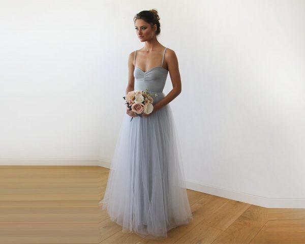 Light Grey Maxi Ballerina Tulle Dress 1061