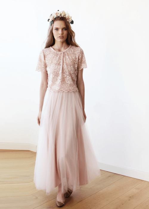 Light pink bridesmaids tulle maxi skirt SALE 3005