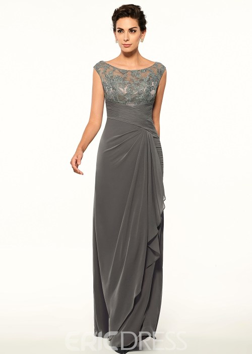 Long Scoop Sleeveless Elegant Lace Mother of the Bride Dress