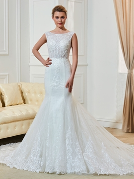 Mermaid Appliques Beaded Bateau Neckline Wedding Dress