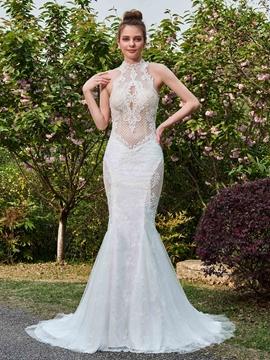 Mermaid Halter Mesh Lace Hollow Wedding Dress