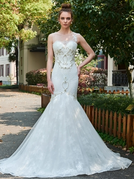 Mermaid Lace Beading Wedding Dress with Long Train