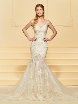 Mermaid Lace Color Wedding Dress