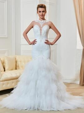 Mermaid Lace Jewel Neckline Appliques Wedding Dress