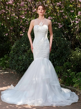 Mesh Scoop Mermaid Sleeveless Wedding Dress