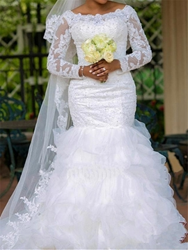 Modest Bateau Appliques Mermaid Wedding Dress With Sleeves