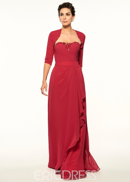 Modest Strapless A Line Long Mother Of The Bride Dress With Jacket
