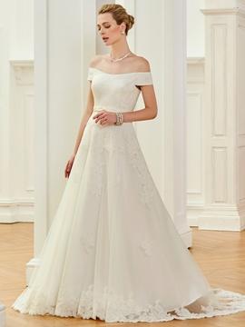 Off The Shoulder A Line Court Train Wedding Dress