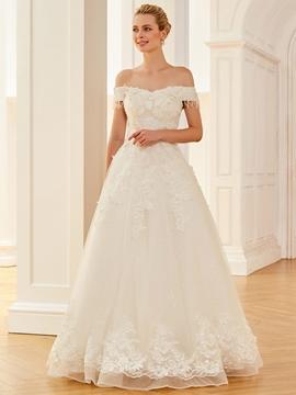 Off The Shoulder Appliques A Line Gorgeous Wedding Dress