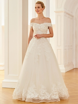 Off The Shoulder Appliques A Line Gorgeous Wedding Dress