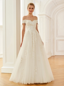 Off The Shoulder Ball Gown Appliques Tulle Wedding Dress