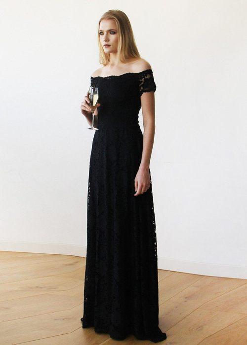 Off-The-Shoulder Black Short Sleeves Lace Maxi Dress 1142