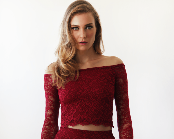 Off-The-Shoulder Bordeaux Floral Lace Long Sleeve Top 2049