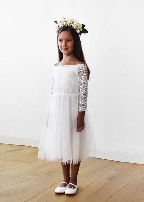 Off-The-Shoulder Ivory Lace and Tulle Midi Girls Gown 5041