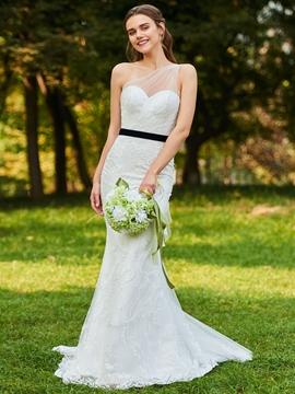 One Shoulder Mermaid Lace Wedding Dress