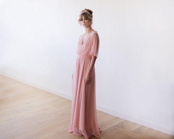 Peach Pink Sheer Chiffon Bat-wing Maxi Dress 1027