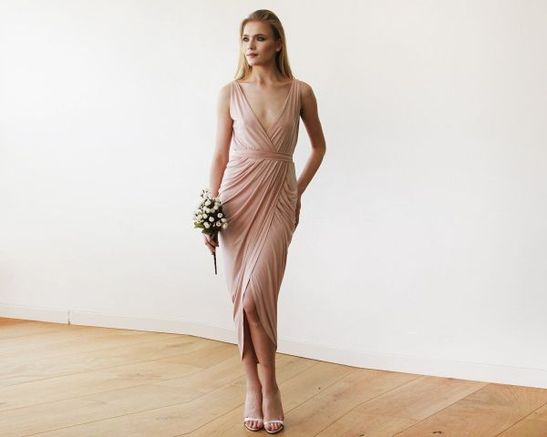 Pink Blush Wrap Tulip Dress with V Neckline SALE 1154