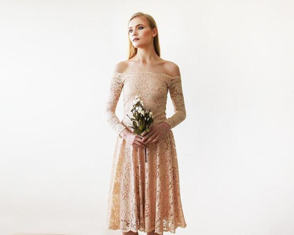 Pink Off-The-Shoulder Floral Lace Long Sleeve Midi Dress 1149
