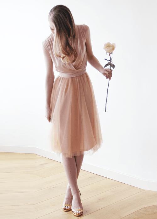 Pink Sleeveless Tulle Midi Dress 1081