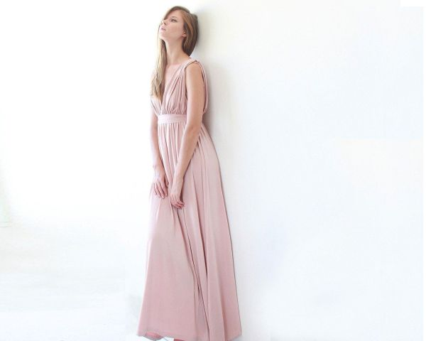 Pink sleeveless maxi dress 1003