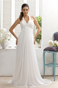 Plain Empire A-Line Halter Top Court Train Wedding Dress