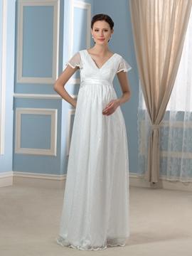 Pretty A Line Lace Maternity Wedding Dress