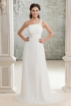 Pretty A-Line One-shoulder Court Train Chiffon Bridal Gown