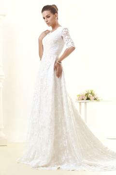 Pretty A-Line-Princess V Neck Half Sleeves Wedding Dress