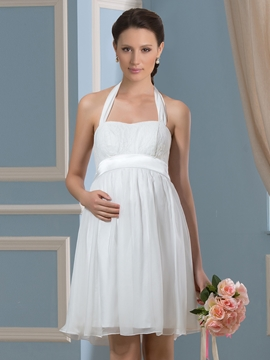 Pretty Halter Short Chiffon Maternity Wedding Dress