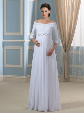 Pretty Off the Shoulder Maternity Wedding Dress with Sleeves