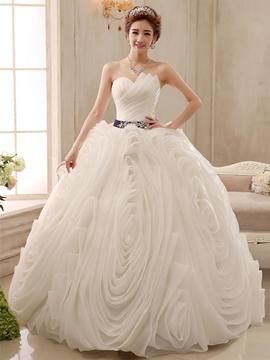 Pretty Strapless Beading Ball Gown Wedding Dress