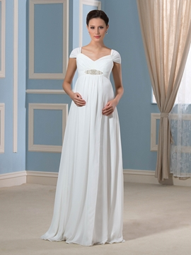 Pretty V Neck Cap Sleeves Beadings Chiffon Maternity Dress