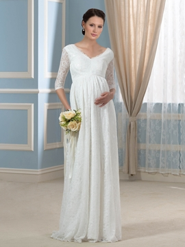 Pretty V Neck Half Sleeves Lace Maternity Wedding Dress