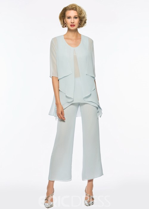 Scoop A Line Chiffon Mother of the Bride Jumpsuit with Jacket