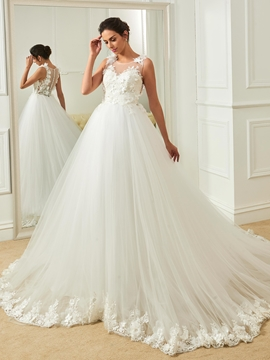 Scoop Appliques Flowers Ball Gown Wedding Dress