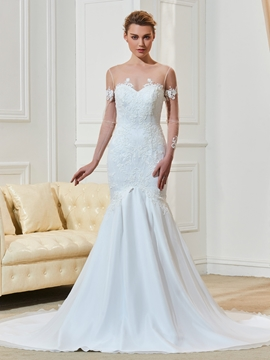 Scoop Appliques Long Sleeves Mermaid Wedding Dress