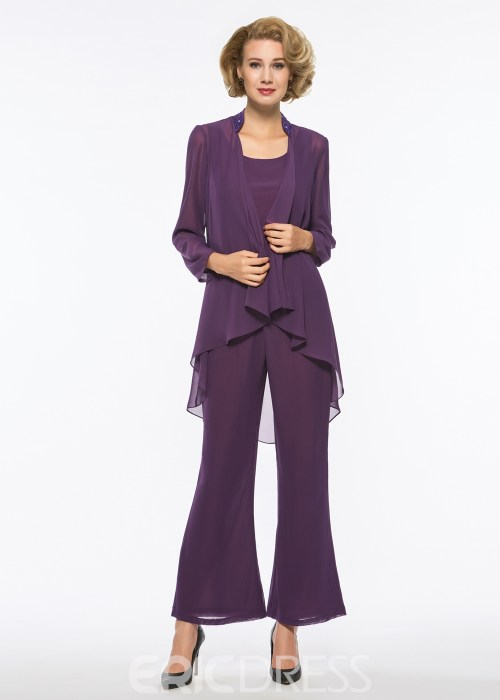 Scoop Chiffon Long Sleeves Mother of The Bride Jumpsuit