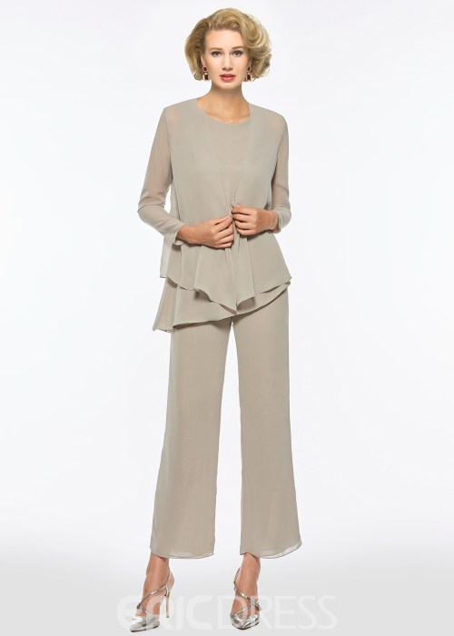 Scoop Long Sleeves Chiffon Mother of the Bride Jumpsuit