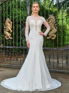 Scoop Long Sleeves Mermaid Backless Wedding Dress