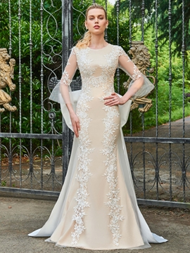 Scoop Sheath 3-4 Length Sleeves Appliques Wedding Dress