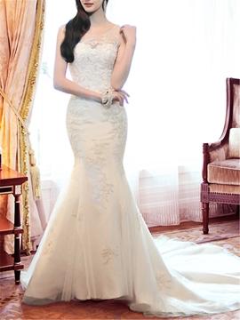 Sexy Floor-length Jewel Chapel Train Appliques Mermaid Wedding Dress