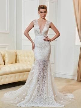 Sexy Lace Mermaid Backless Wedding Dress