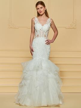 Sexy Mermaid Appliques Wedding Dress