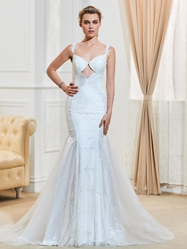 Sexy Spaghetti Straps Backless Mermaid Lace Wedding Dress