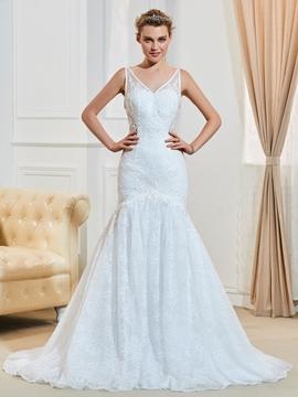 Sexy V Neck Backless Mermaid Lace Wedding Dress