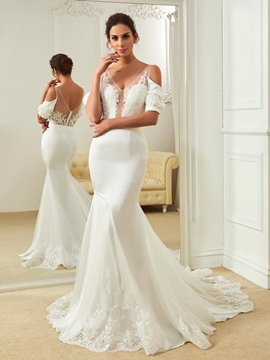 Sexy V Neck Short Sleeves Backless Mermaid Wedding Dress